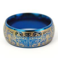 Prsten Peru, titanová ocel, modrý vel. 65 / 66