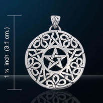 Amulet Pentagram dvojitý s trojlístky, postříbřený