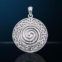 Amulet Posvátná keltská spirála, postříbřený