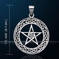 Amulet Keltský pentagram se spirálou, postříbřený