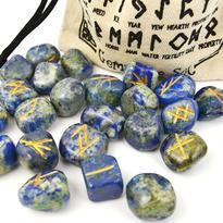 Runové kameny - Lapis Lazuli, ve lněném sáčku