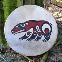 Šamanský buben malovaný 40 cm - Duch medvěda