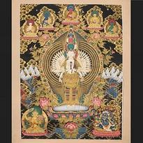 Tibetská mandala thanka - Avalokitesvara
