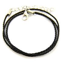 Šňůrka s karabinkou kroucená 45 cm, černá