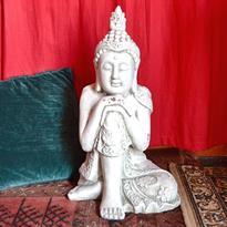 Socha Bílý Buddha Osvícený 55 cm