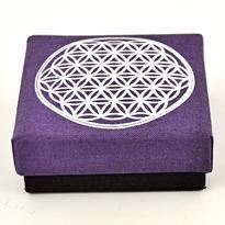 Šperkovnice Květ Života, fialová 8,5 x 8,5 cm