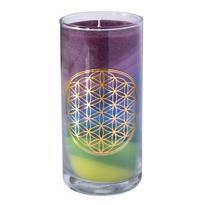 Svíčka ve skle velká čakrová. 14 cm - Květ Života