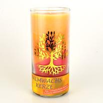 Svíčka ve skle velká oranž - červ. 14 cm - Strom