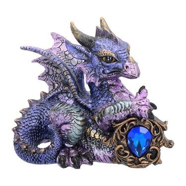 Fantasy soška - Fialový drak s drahokamem  - 1