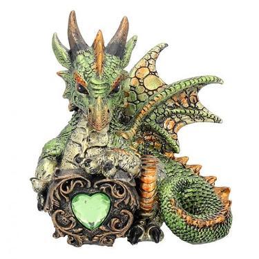 Fantasy soška - Dračí srdce - zelený  - 1