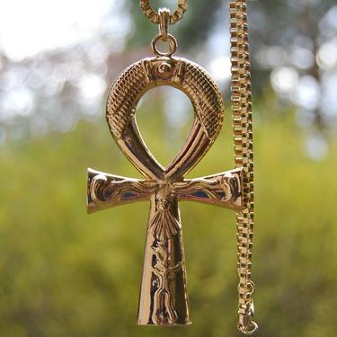 Faraonský náhrdelník - Zlatý Anch Sluneční  - 1