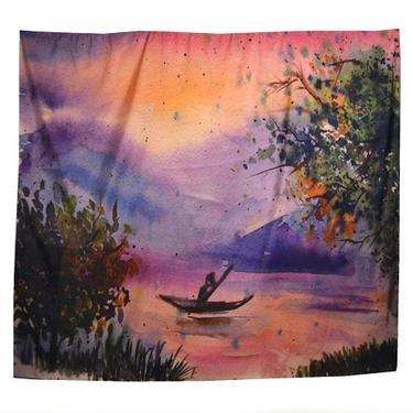Šátek - přehoz akvarel - Převozník  - 1
