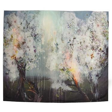 Šátek - přehoz akvarel - Sakurový háj  - 1