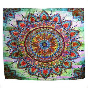 Šátek - přehoz Duhová mandala 200 x 150 cm  - 1