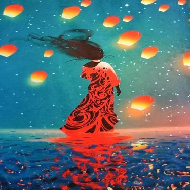 Šátek - přehoz Tanečnice na vlnách  - 1