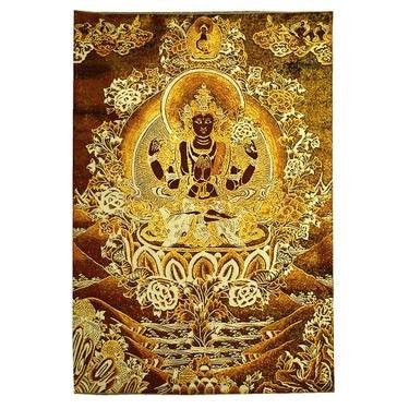 Tkaný gobelín Tibet zlatý - Avalókitéšvara  - 1