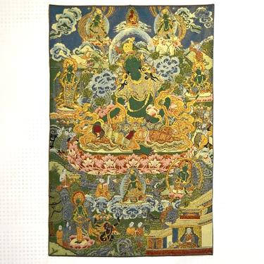 Tkaný gobelín Tibet - Zelená Tara Vysvoboditelka  - 1