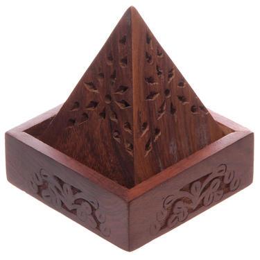 Stojánek na vonné kužely - Dřevěná pyramida  - 1