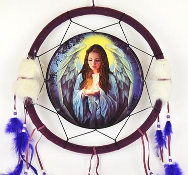 Lapač snů - Andělské světlo 34 cm, fialový