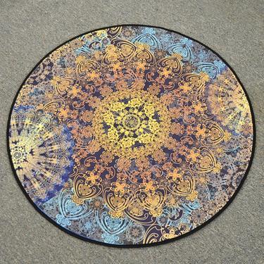 Meditační kobereček Modrá Mandala kulatý, 80 cm  - 1
