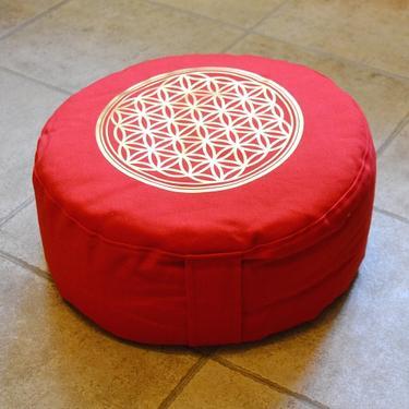 Meditační polštář Květ Života červený  - 1