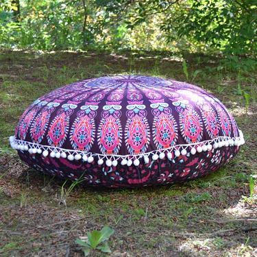 Meditační polštář kulatý Růžová Mandala 80 cm  - 1