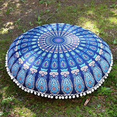 Meditační polštář kulatý Modrá Mandala 80 cm  - 1