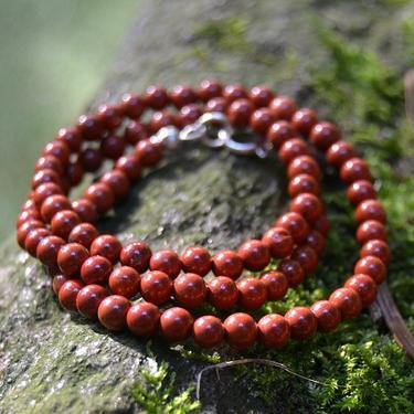 Náhrdelník jaspis červený, kuličky 4 mm