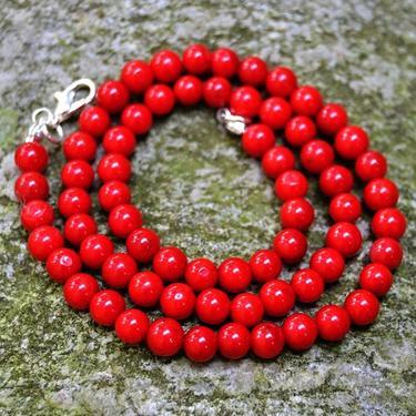 Náhrdelník korál červený, kuličky 4 mm