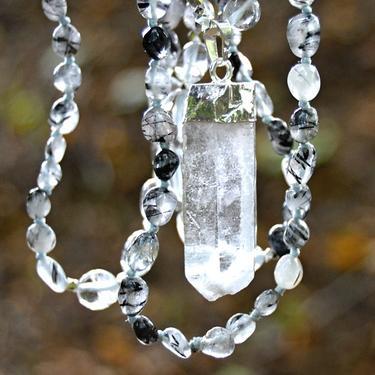 Náhrdelník Křišťál s turmalínem, krystal křišťálu  - 1