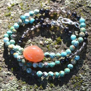Náhrdelník Slunce Sahary - tyrkys, sluneční kámen  - 1