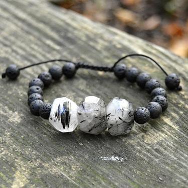 Náramek Křišťál s turmalínem a lávový kámen
