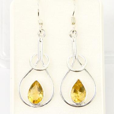 Náušnice citrín Elegance, stříbro Ag 925  - 1