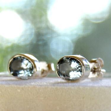 Náušnice topaz modrý facetovaný, stříbro Ag 925  - 1