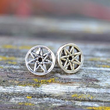 Náušnice Sedmicípá Hvězda, stříbro Ag 925/1000  - 1