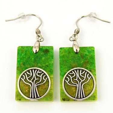 Náušnice orgonit - Zelený strom