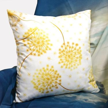 Polštář bílý - Zlaté Pampelišky 40 x 40 cm