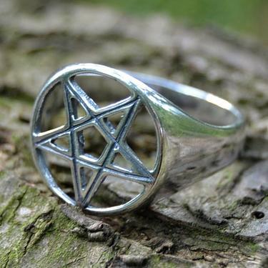 Prsten Pentagram stříbro Ag 925/1000 - vel. 60  - 1