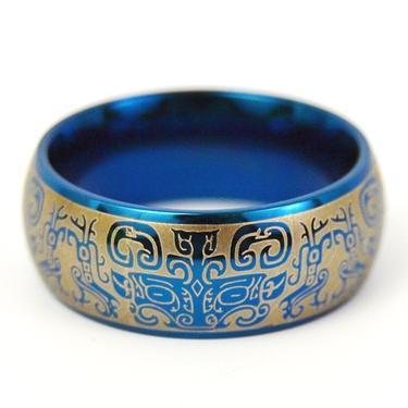 Prsten Peru, titanová ocel, modrý vel. 65 / 66  - 1