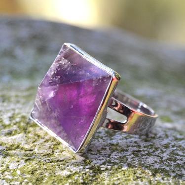 Prsten s ametystovou pyramidou rozevírací  - 1