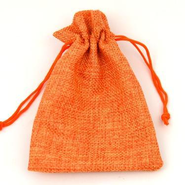 Lněný sáček na poklady 14 x 10 cm, oranžový