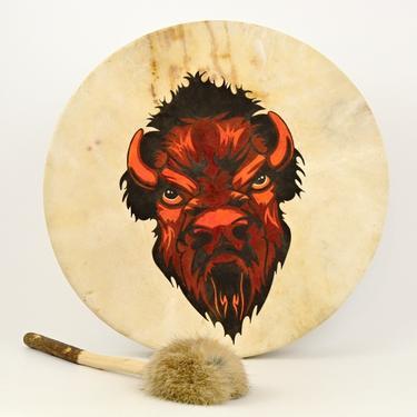 Šamanský buben malovaný 40 cm - Bizon  - 1