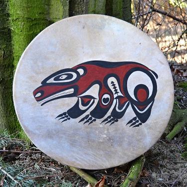 Šamanský buben malovaný 40 cm - Duch medvěda  - 1