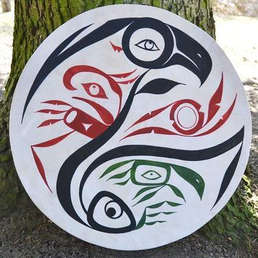 Šamanský buben malovaný 50 cm - Duch Přírody  - 1