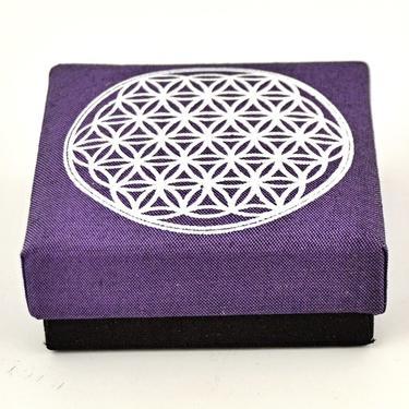 Šperkovnice Květ Života, fialová 8,5 x 8,5 cm  - 1