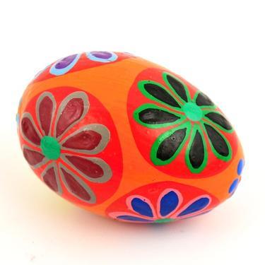 Chřestidlo Bali vajíčko malované 7 cm  - 2