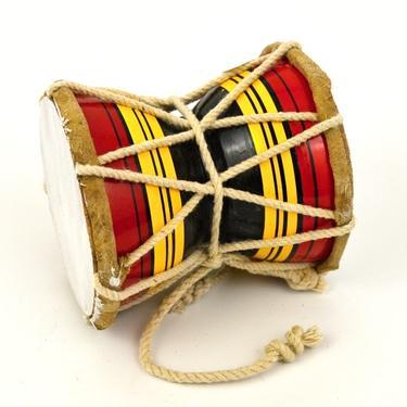 Bubínek indický Damaru barevný 10 cm  - 2