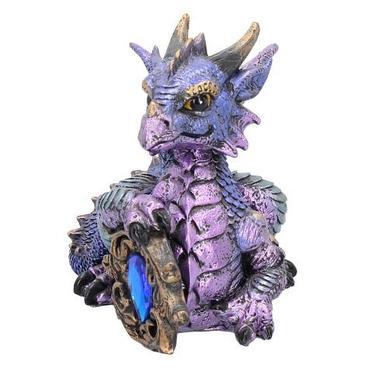 Fantasy soška - Fialový drak s drahokamem  - 2
