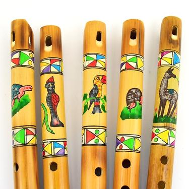 Flétna Peru bambus lakovaná s malbou 24 cm  - 2