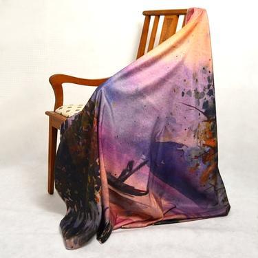 Šátek - přehoz akvarel - Převozník  - 2